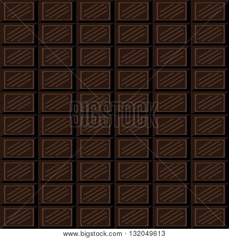 Chocolate bar seamless pattern. Dark chocolate square tiles texture.