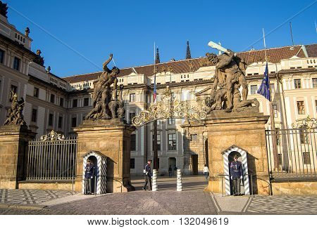Prague Czech republic - April 22 2015 - Entrance to Prague castle guarded by the castle guards. Prague castle is the official residence of the president of the Czech republic.
