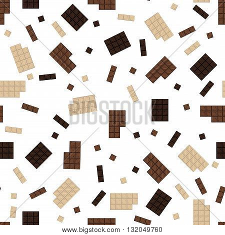 Chocolate bar seamless pattern. Milk and dark cocoa chocolate square tiles texture.