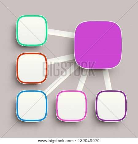 illustration of round corner squares with shadows different color on grey background
