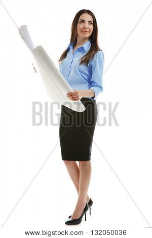 Woman holding engineering blueprint isolated on white