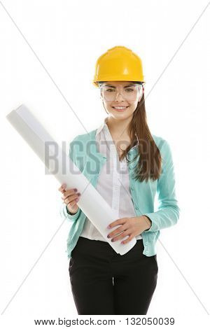Female engineer with blueprint isolated on white