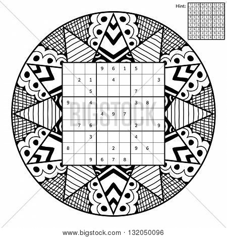 Number place with solution and antistress coloring book. Magic square. Combinatorial number placement puzzle. Mandala frame of puzzle may be used as decoration or antistress coloring page.