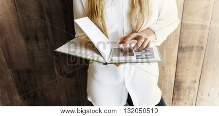 Book Reading Digital Device College Networking Concept