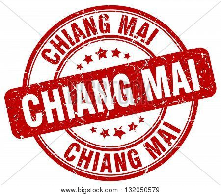 Chiang mai red grunge round vintage rubber stamp.Chiang mai stamp.Chiang mai round stamp.Chiang mai grunge stamp.Chiang mai.Chiang mai vintage stamp.
