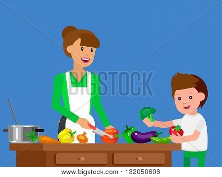 Cute vector character child and healthy food. Child with vegetables, cook food with mother. Happy kid helping mum prepare food. Detailed character child. Vector fun child.