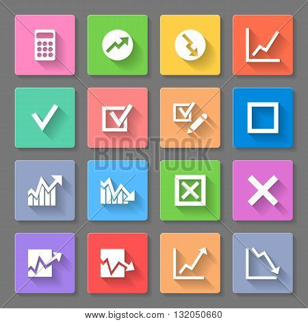 Set of flat square icons with diagrams on the gray background