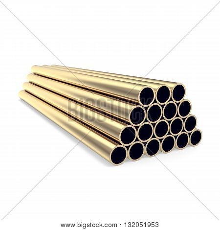 Gold pipes isolated on white background, 3d illustration