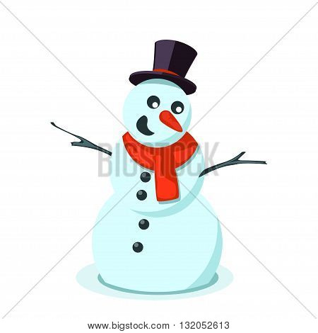 illustration of flat blue snowman with red scarf on white background