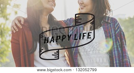 Happy LIfe Happiness Optimistic Enjoyment Cheerful Concept
