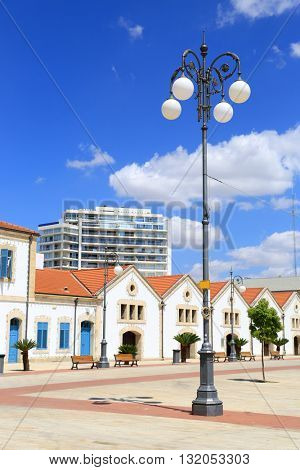 vintage street lantern in Larnaka City, Cyprus