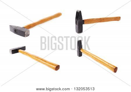 Set of big metal hammer with wooden handle over white isolated background, different foreshortenings