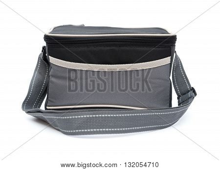 grey and black lunch pack carrier on a white background