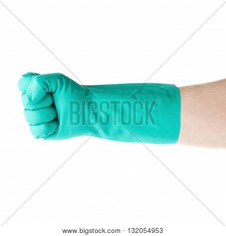 Hand in rubber latex green glove with fist gesture over white isolated background