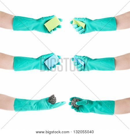 Set of hands in rubber latex green glove holding kitchen green sponge over white isolated background