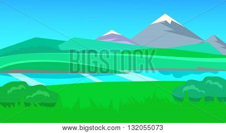 cartoon desert landscape, vector unending background landscape with desert, herbs, mountains and sky. Vector landscape. Flat landscape