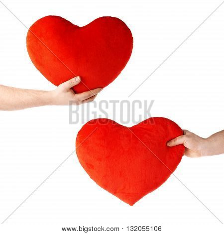 Set of gently holding plush red plush toy heart with one hand, composition isolated over the white background