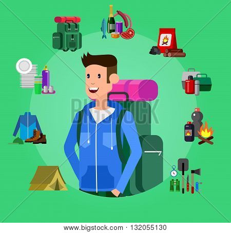 Men and woman character camping tourists. Camping Weekend icons. Hiking and camping object. Vector camping flat illustration