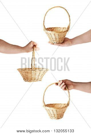 Set of caucasian male hand holding a wicker basket, composition isolated over the white background