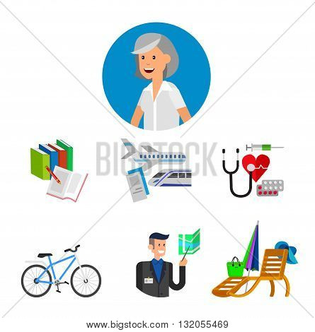 vector detailed character senior, senior age. Old age woman and icons. Pension hobbies and interests leisure of pensioner