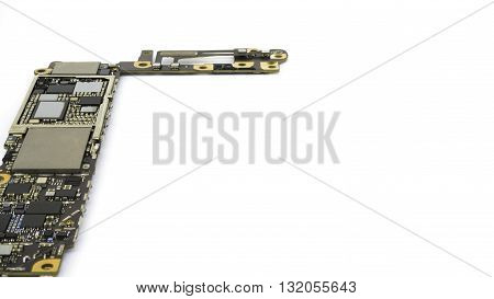 Smart phone circuit board isolate on white background Copy Space