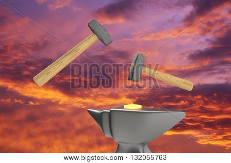 The symbolic image of two hammers and anvils to work on forging hot metal on a sky background. 3D rendering.