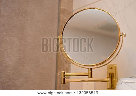 a mirror in a bathroom horizontal composition