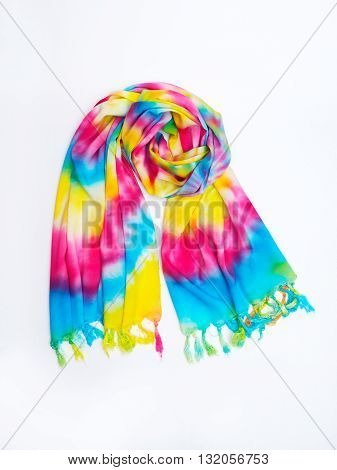 Tie dye handmade shawl with bright colors.