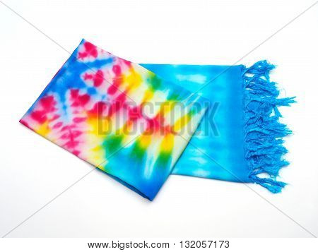 Tie-dye cotton fold the fabric handmade shawl with bright colors.