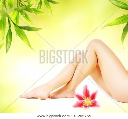 Female legs with pink lily isolated over abstract green background