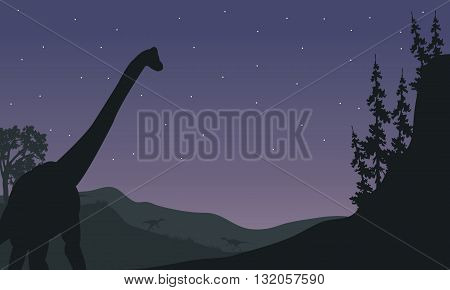 Silhouette of one Brachiosaurus at night with star