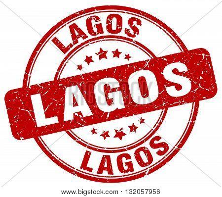 Lagos red grunge round vintage rubber stamp.Lagos stamp.Lagos round stamp.Lagos grunge stamp.Lagos.Lagos vintage stamp.