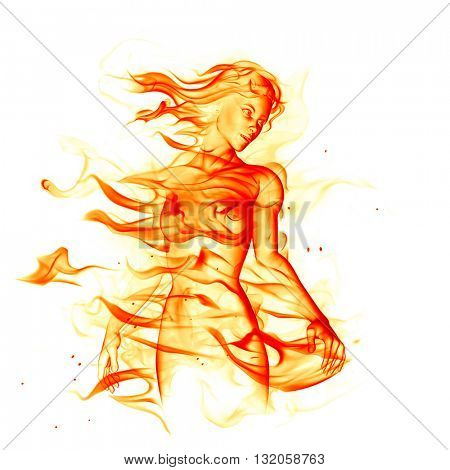 Fiery girl isolated on white background. 3D illustration.