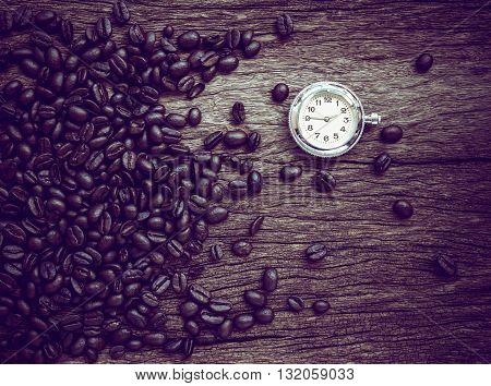 coffee time roasted coffee beans can be used as a background.