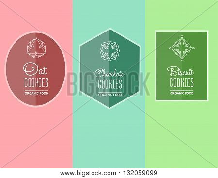 label for biscuits cookies, oatmeal cookies, chocolate cookie packaging. Linear vector illustration