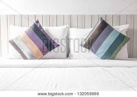 Colorful bed sheets and pillow. vintage style.