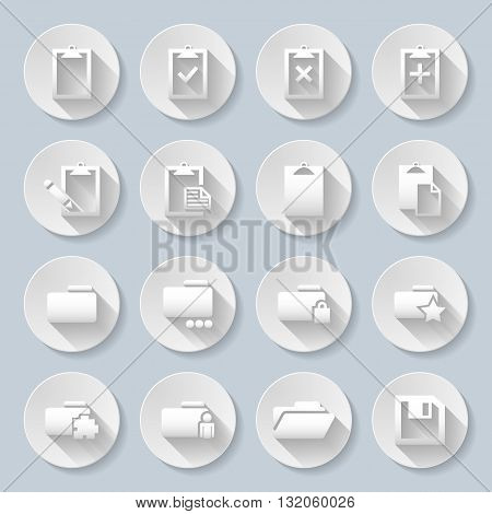 Set of flat round icons with folders on the gray background