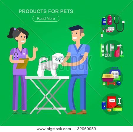 high quality character design veterinarian with dog, pet shop. veterinary Pets accessories and vet store, grooming tools, Veterinary pharmacy,