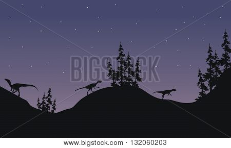 Silhouette of Eoraptor with star a very beautiful scenery