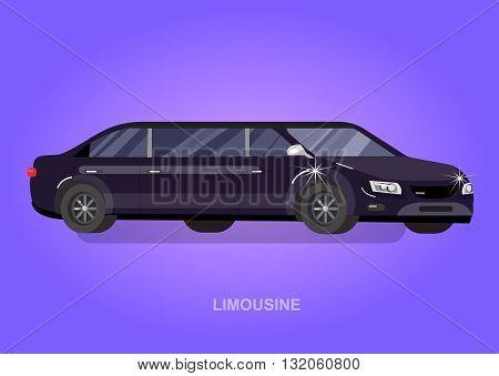 detailed vector luxury limousine car black. Vector limousine. Illustration  limousine