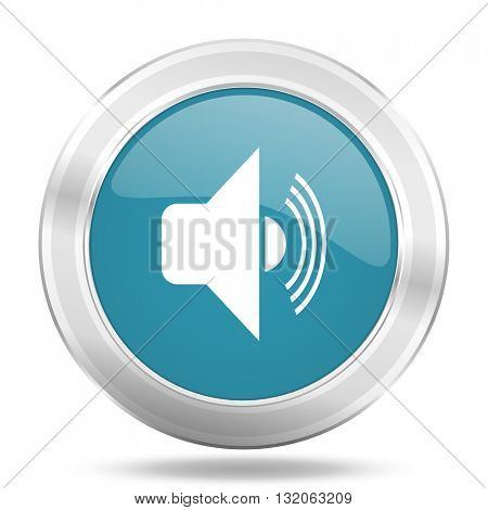 volume icon, blue round metallic glossy button, web and mobile app design illustration