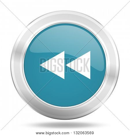 rewind icon, blue round metallic glossy button, web and mobile app design illustration