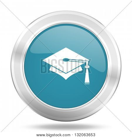 education icon, blue round metallic glossy button, web and mobile app design illustration