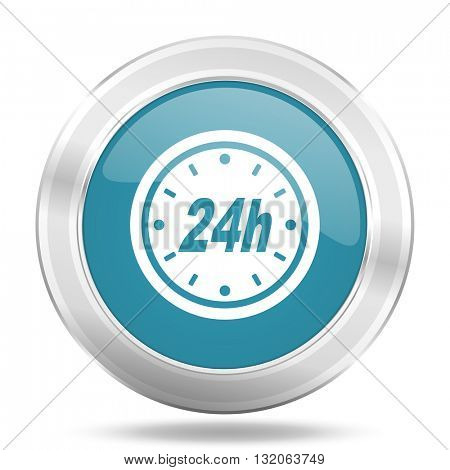 24h icon, blue round metallic glossy button, web and mobile app design illustration