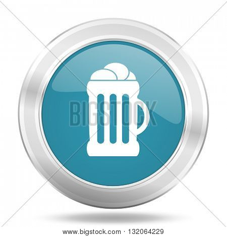 beer icon, blue round metallic glossy button, web and mobile app design illustration