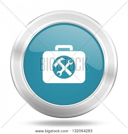 toolkit icon, blue round metallic glossy button, web and mobile app design illustration