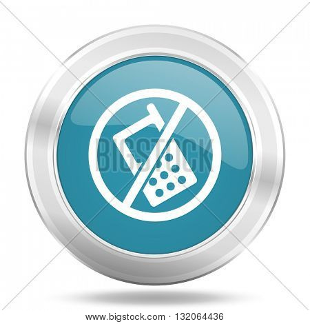 no phone icon, blue round metallic glossy button, web and mobile app design illustration