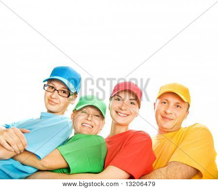 Glückliche Familie isoliert auf weißem Hintergrund