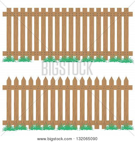 Wooden fence with grass isolated on background. Wooden fence.