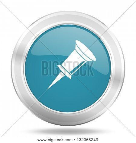 pin icon, blue round metallic glossy button, web and mobile app design illustration